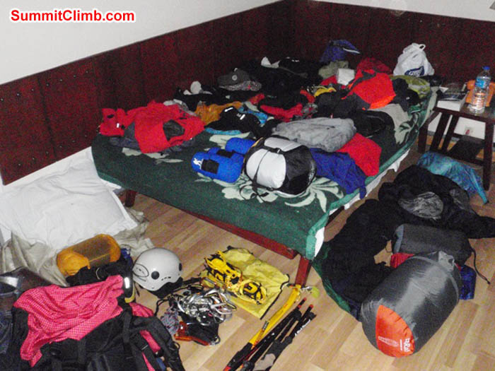 Jim's climbing kit spread out on his bed at Shakti Hotel. Photo by James Barritt