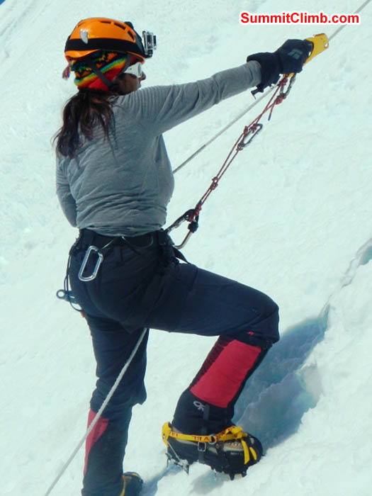Sangeeta demonstrates proper fixed rope ascension techinique on the Island Peak headwall. Photo by Thile Nuru Sherpa