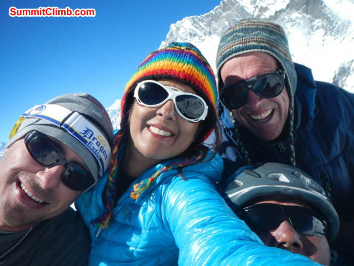 Nathan, Sangeeta, Thile and Dan on the summit of Island Peak. Photo by Thile Nuru Sherpa