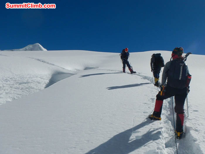Dan, Nathan and Sangeeta roped together on the Island Peak glacier. Photo by Thile Nuru Sherpa