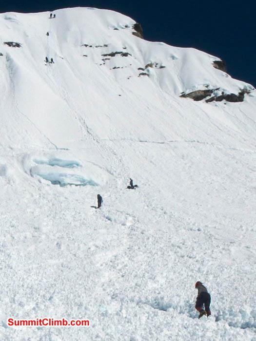 Team climbing the headwall on Island Peak. Photo by Thile Nuru Sherpa