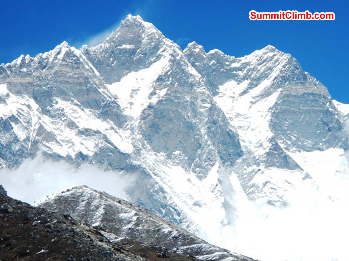 The Mighty south face of Lhotse seen from Chukkung. Photo by Sangeeta Sindhi