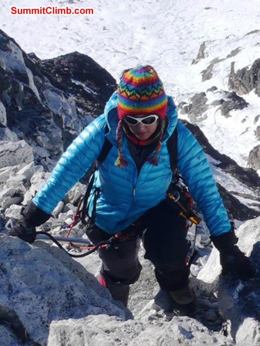 Sangeeta Sindhi climbing below crampon point on Island Peak. Photo Dan Mazur