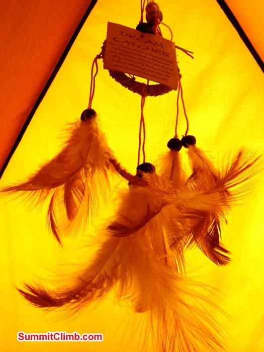 Mark has a Dream Catcher hanging in his tent. Mark van 't Hof Photo