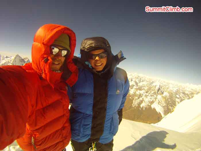 Andreas and Fernando Joerger on the summit of AmaDablam. Photo by Nils
