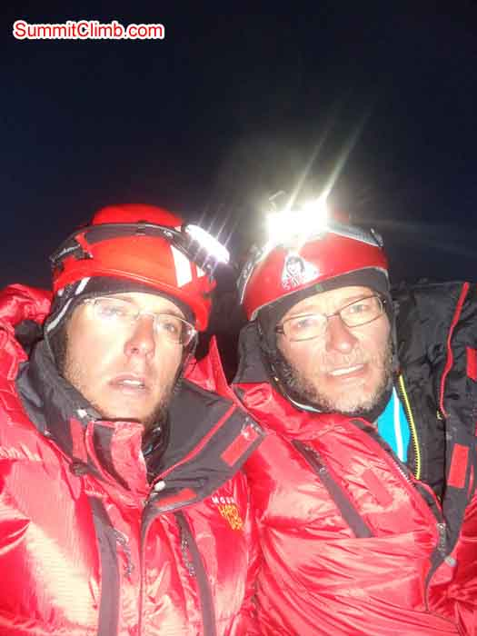 Marc Biner and Daniel Biner on the Summit. Photo Daniel Biner.
