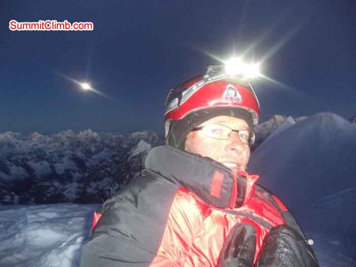 Dani Biner on the summit of Ama Dablam at dawn. Marc Biner Photo.