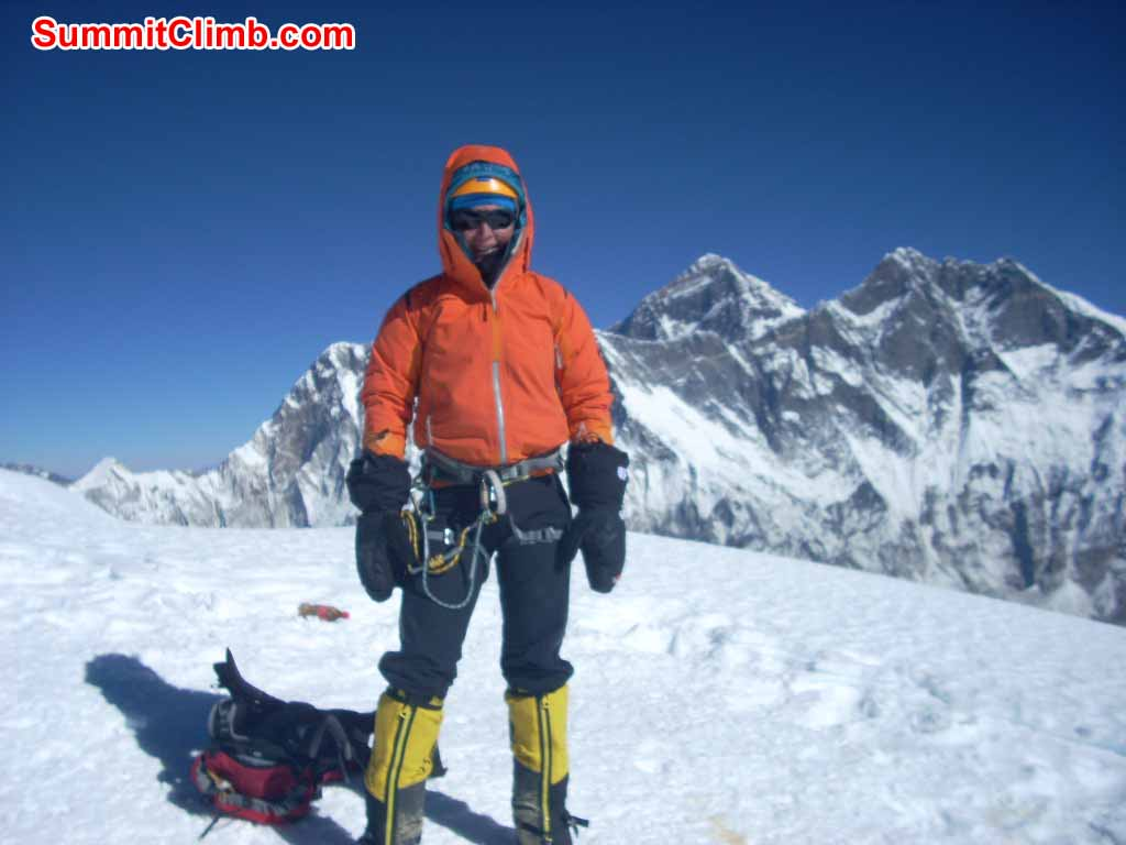 Ms. Marigje E. Braat, from the Netherlands, on the summit of Ama Dablam, Novenber 15th, 2012. Photo by Gyelje Sherpa.