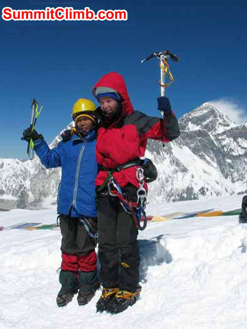 We were fortunate to be able to assist in the first ascent by a Nepalese woman, and putting the youngest woman on the summit. Maya Sherpa and Camille Kinny on the summit, with Everest on the right.