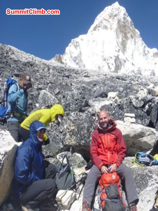 Team in abc 5300m after acclimasation hike, ama in background, amadablam