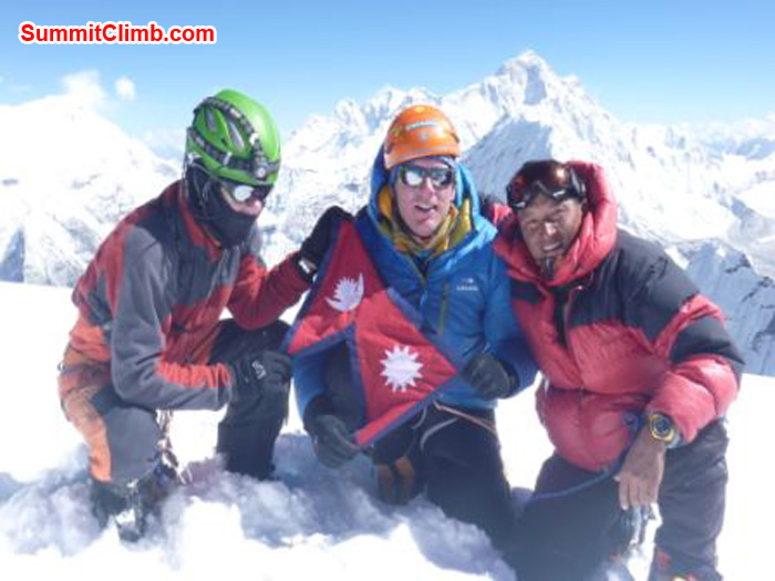 Kunnar, Arnold and Jangbu on the Summit of Ama Dablam
