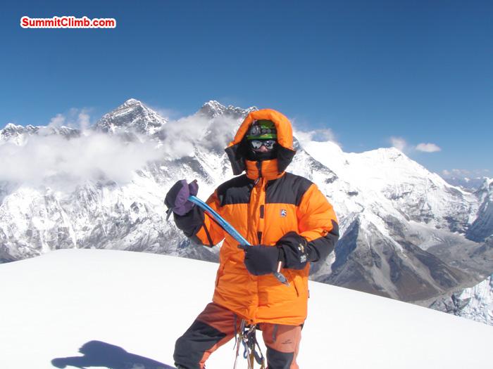 Summit of AmaDablam Kunnar Karu, Estonia, Summit 28 October 10:30am. Behind Everest Lhotse. Photo Kunnar Karu