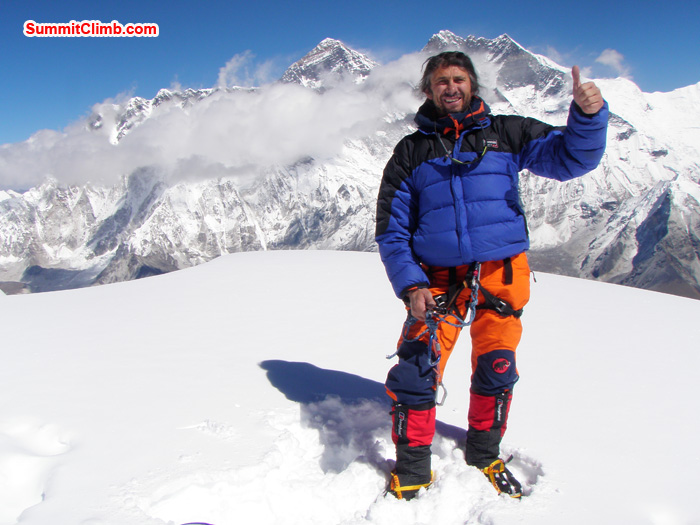 Summit of AmaDablam. Henri Geller, Luxembourg, Summit 28 October 10:30am, Behind Everest, Lhotse. Photo Kunnar Karu