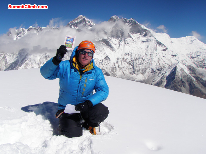 Arnold Coster, the Netherlands, Summit 28 October 10:30am. Behind Everest, Lhotse. Photo Kunnar Karu.