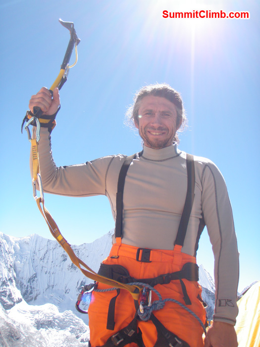 Henri Geller showing his Ice axe in camp 2. Photo Kunnar Karu