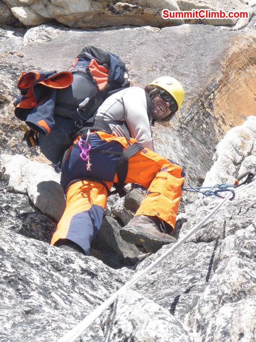 Interesting climbing between camp 1 and camp 2. Photo Kunnar Karu