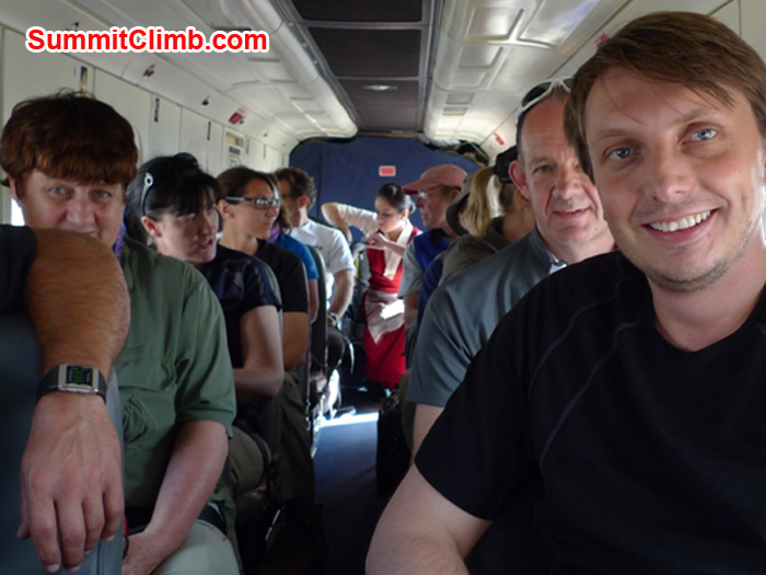 Inside the plane on the flight from Kathmandu to Lukla