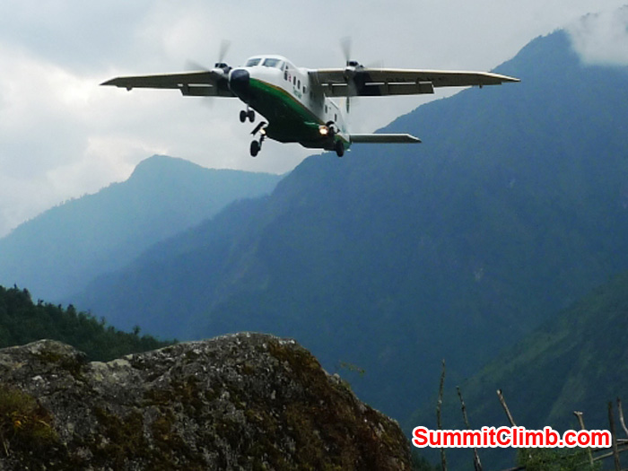 Small plane landing at Lukla airport. Photo by Frank Seidel.