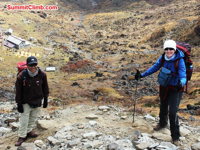 Shera Sherpa and Julie Piskorz above Chetra Village. Photo by Alice Grant.JPGphoto