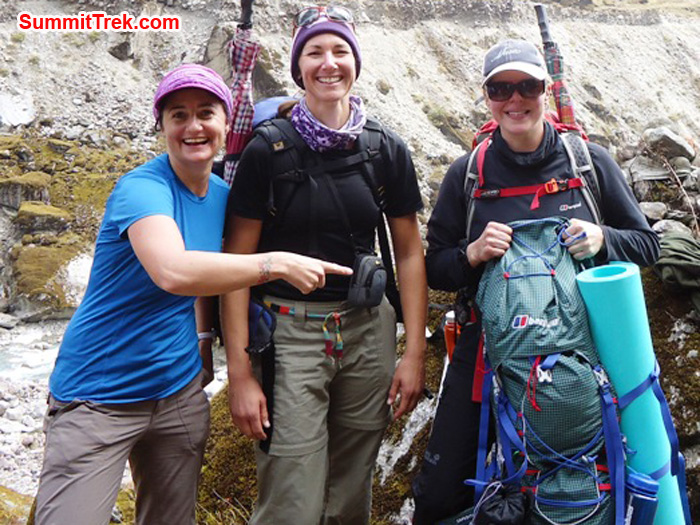 Carla, Jennifer and Holly at the edge of the Hongku River with a Berghaus Rucksack. Thanks Berghaus. Photo by Shera Sherpa