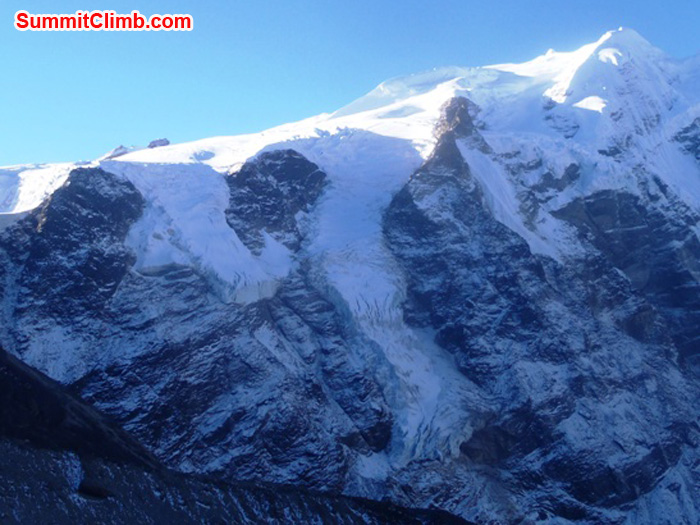 The route to Mera Peak summit in profile as seen from Kare Village. Photo by Andrew Davis