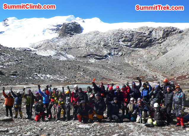 Team photo before setting off for glacier training on the Naulekh Glacier at 5100 metres / 16,728 feet. Photo Dan Mazur.