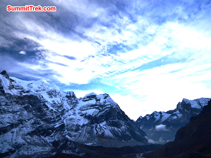 Looking toward Mera Peak and the Hongku valley from Kare at sunset. Photo by Michael Moritz