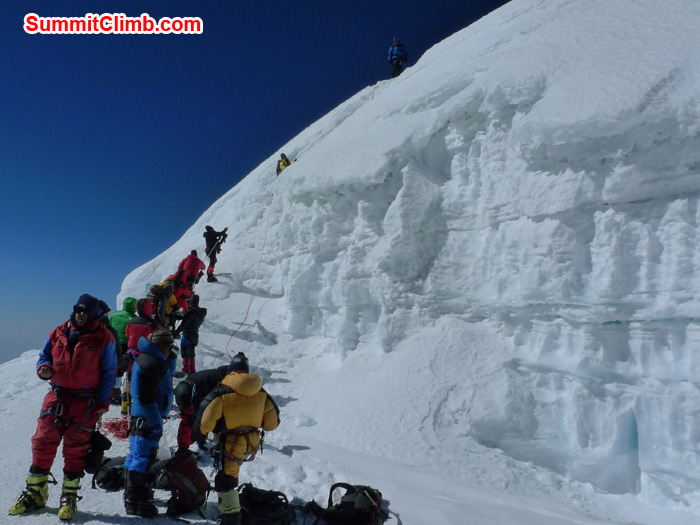 Member climbing the wall before summit of Mera Peak. Photo Frank Seidel