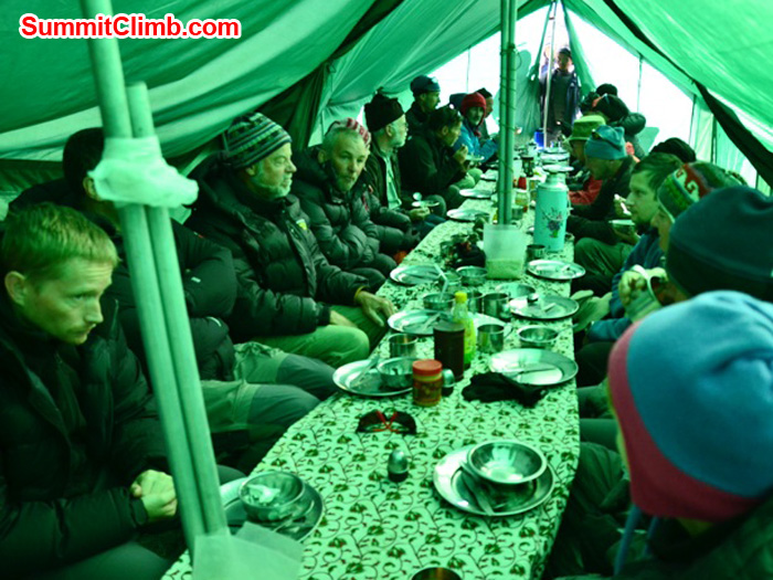 Team enjoys delicious soup and starters in our comfortable dining tent at Mera Peak basecamp. Photo by Michael Moritz