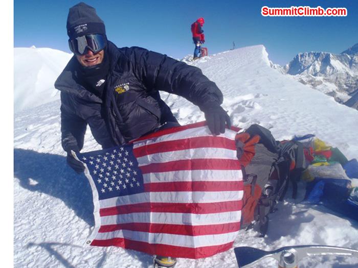 Andrew Davis, from Edina Minnesota, on the summit of Mera Peak. Photo by Richard Cotter BERGHAUS
