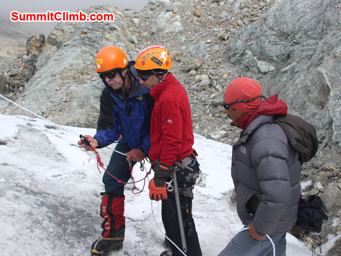 ice training in Mera basecamp teach by Dan Mazur. Photo Scott