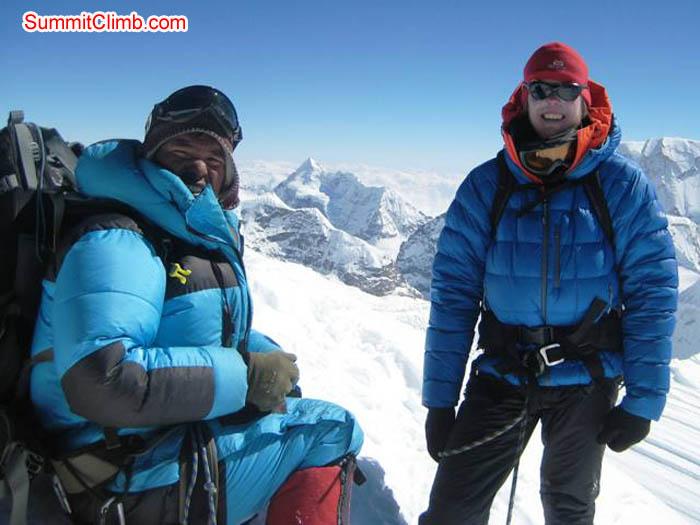 Janbu Sherpa and Jussi Kuva on the summit. Toni Schneider Photo.