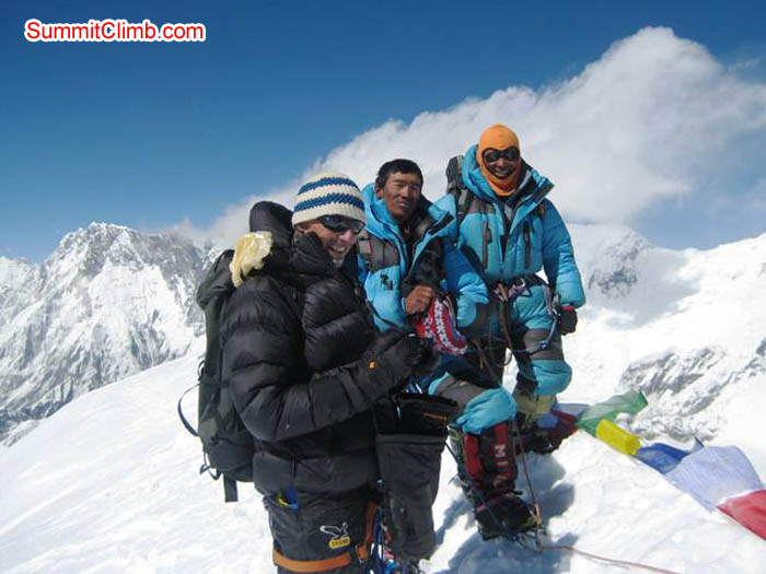 Toni, Chewang, and Jangbu on the summit of Baruntse. Jussi Kuva Photo.