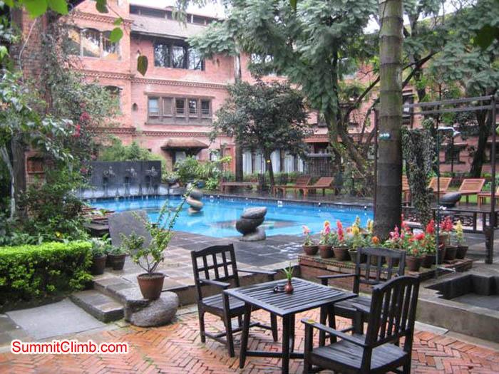 Comfortable table beside the pool at the Kathmandu Hotel. Jussi Kuva Photo.