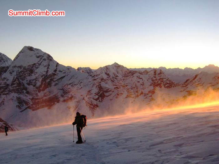 Descending from Mera Peak on a windy afternoon at sunset. Jussi Kuva Photo.