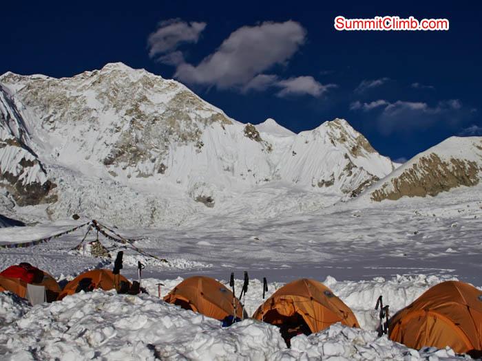Base camp at Baruntse on a sunny day. Felix Berg Photo