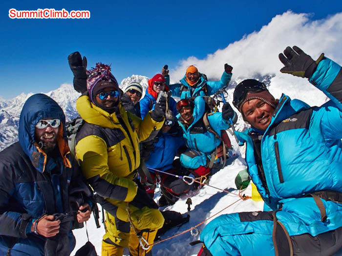 Team on the summit of Baruntse in beautiful weather on 4 November, 2013. Felix Berg Photo