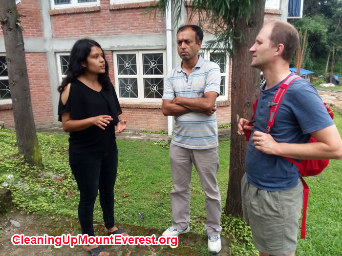 KU Grad Student Garima Baral, and Mike Marsolek (SU) Looking at Biogas Research Setup at Kathmandu University