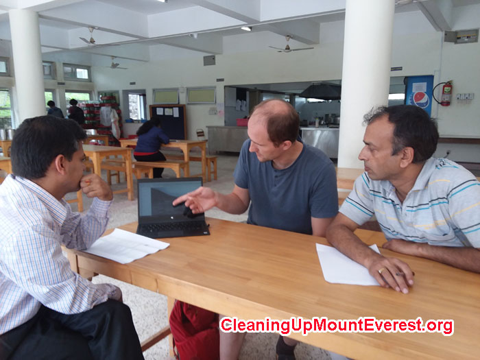 Professors Sunil Prasad (KU), Mike Marsolek (SU), and Bed Mani discuss Everest Base Camp Waste Treatment Research