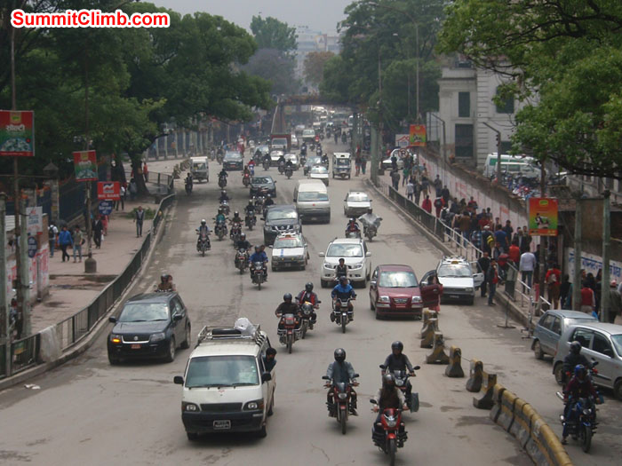 Busy road of Kathmandu city near Ratana Park. Photo Christina Kristensen