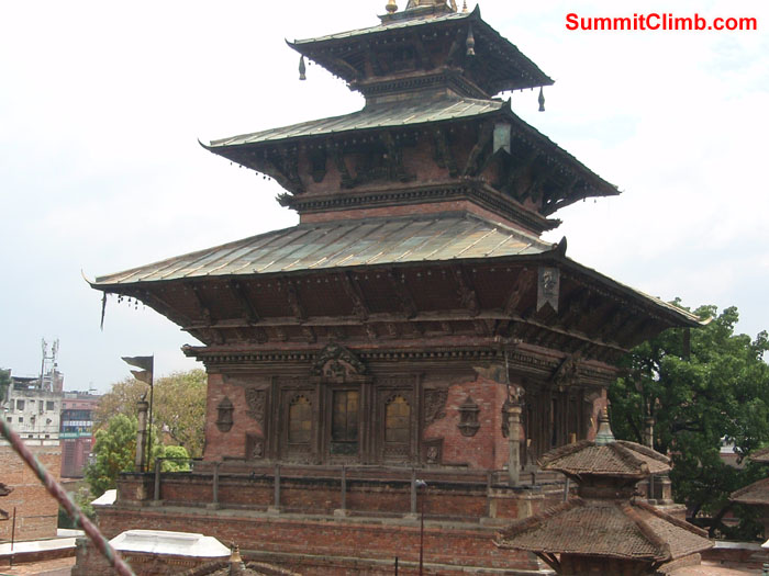 The Taleju Temple is a large temple in the Hanuman Dhoka Durbar Square.  The temple is an oddity among temples in Nepal as it opens its doors to the public only once a year, on Maha Navami during Navarati.  Photo Christina Kristensen
