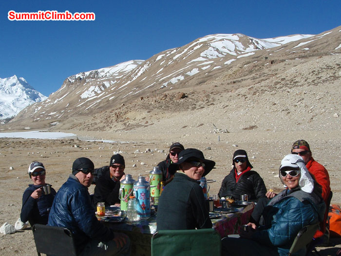 Team at Base camp having breakfast. Photo Christina Kristensen