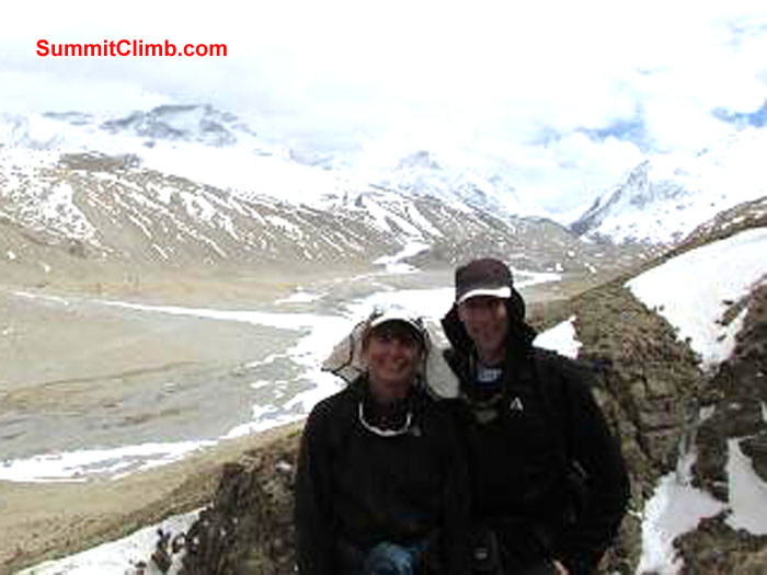 Deb and John on a hike high above Chinese Base Camp.Photo John Martersteck