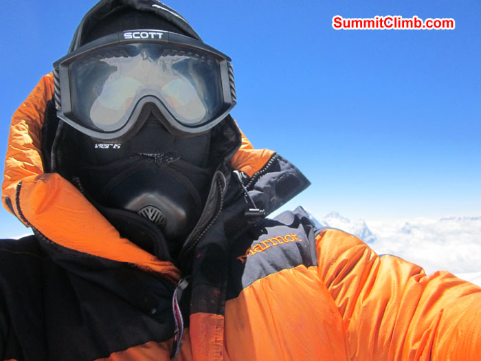 Self shot on summit of Cho Oyu by John. Photo John.