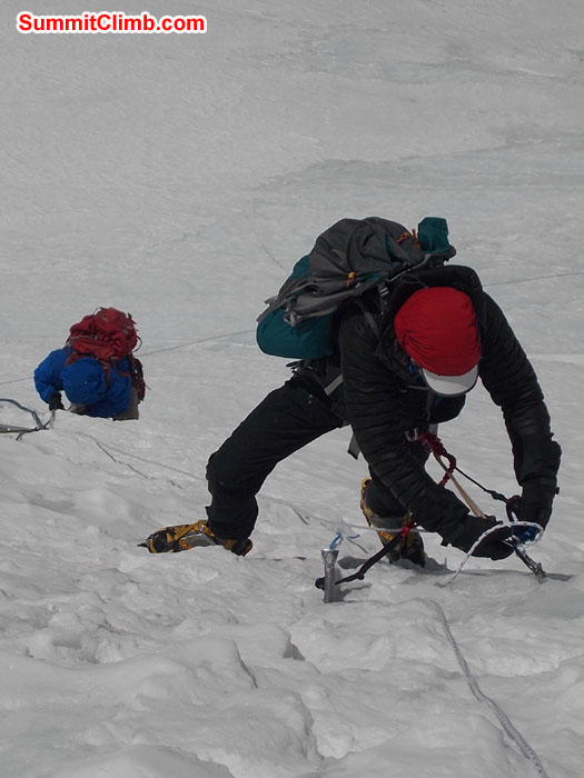 Members approaching Camp 2 at 6700 metres/22,100 feet. Photo Wayne Herrick