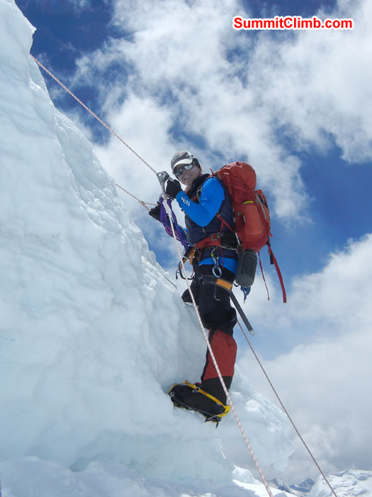Holly nearing the top of the icefall. Photo by Scott Patch