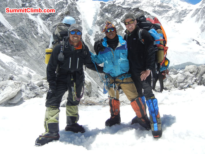 Tenji Sherpa, Lakpa Sherpa and Scott Patch at camp 1 after summit. Photo Scott patch