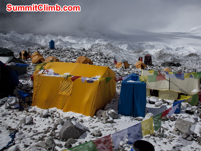 Dinning tents, Toilet tents and other basecamp tents are in ABC. Photo Wik.