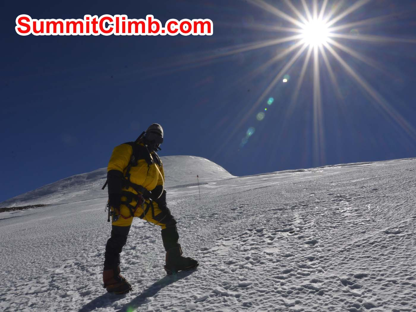 Pemba Sherpa climbing the last pitch to the summit. Dmitri Nichiporov photo