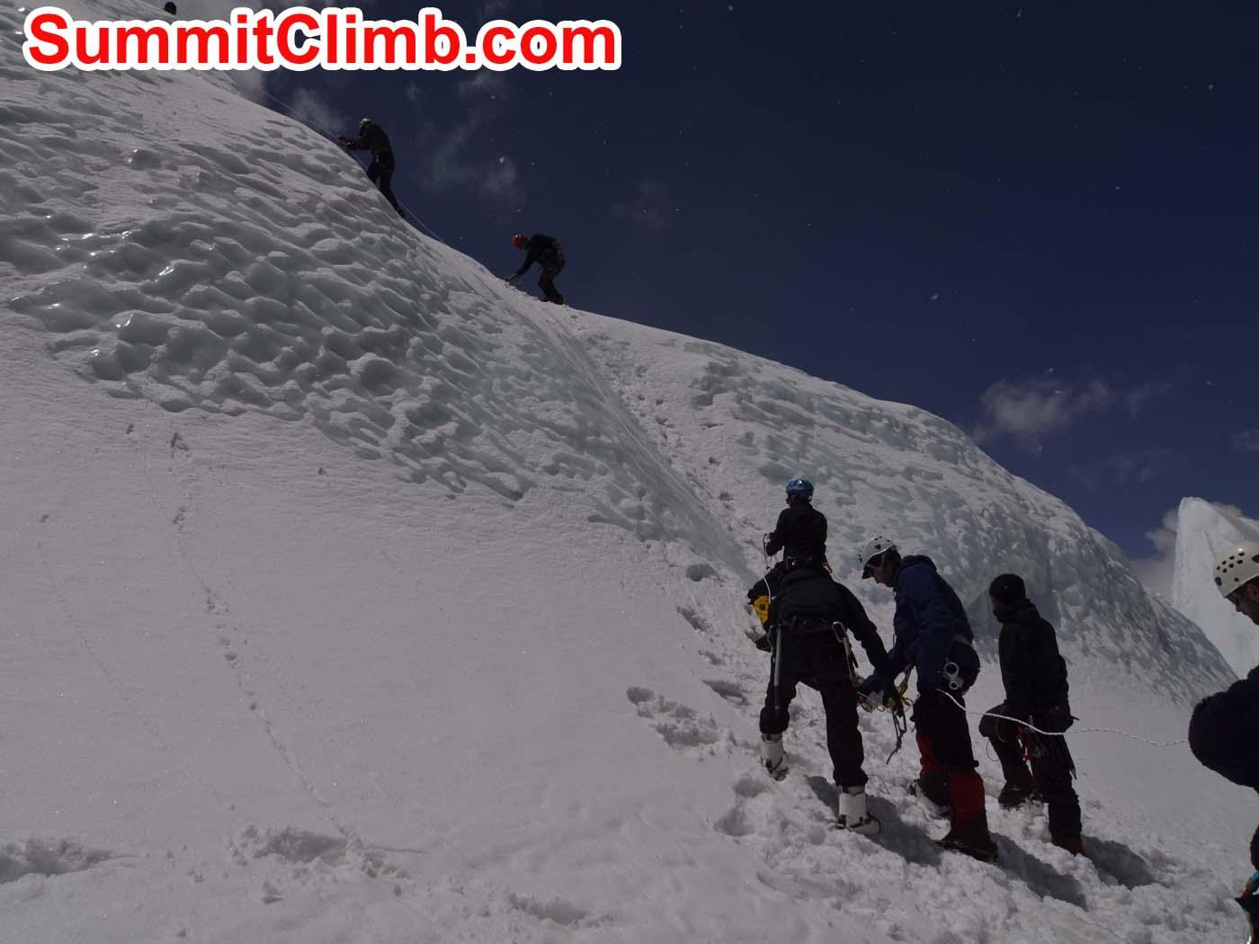 Ice climbing practice at basecamp. Dmitri Nichiporov photo